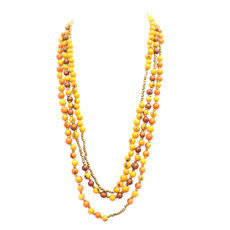 Tagua and Co Collier Sautoir Long 3 rangs perles Graines Ivoire Végétale Guaranda Jaune/Brun/Orange Bijoux Design Créateur
